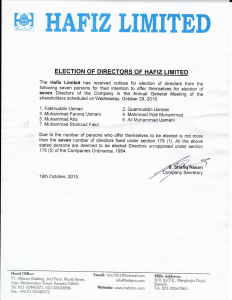NOTICE OF ELECTION OF DIRECTOR OF HAFIZ LIMITED