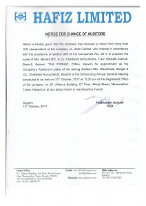 HAFIZ LIMITED NOTICE FOR CHANGE OF AUDITORS